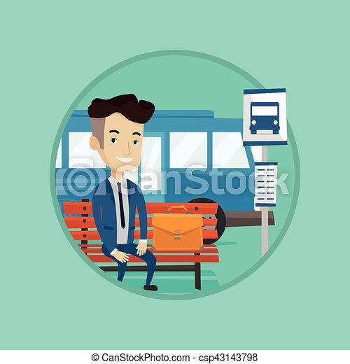 λεωφορείο , αναμονή , stop., επιχειρηματίας  - csp43143798