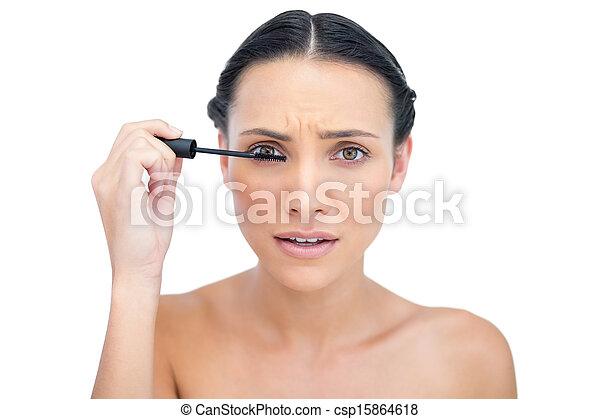 μάσκαρα , εφαρμοσμένος , μελαχροινή , ενόχλησα , νέος  - csp15864618