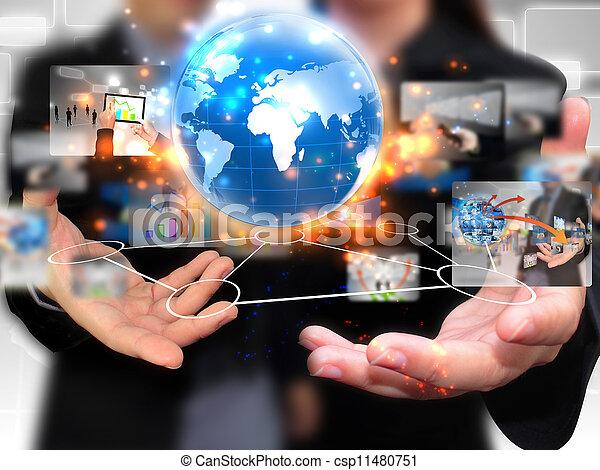 μέσα ενημέρωσης , ακόλουθοι αρμοδιότητα , κράτημα , κοινωνικός  - csp11480751
