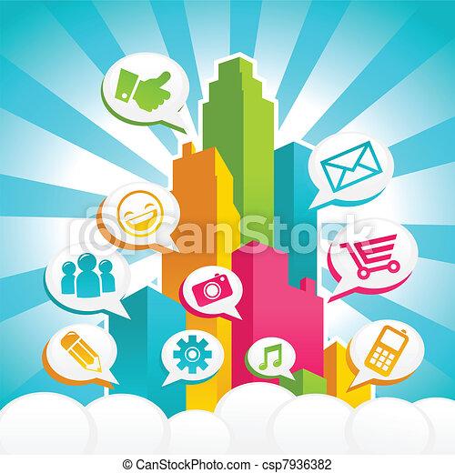 μέσα ενημέρωσης , κοινωνικός , γραφικός , πόλη  - csp7936382