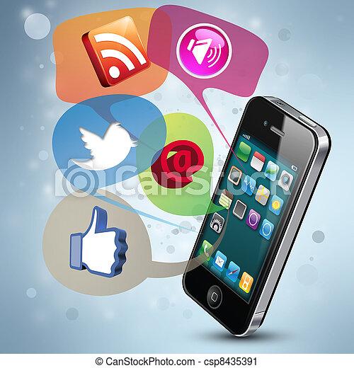 μέσα ενημέρωσης , κοινωνικός  - csp8435391