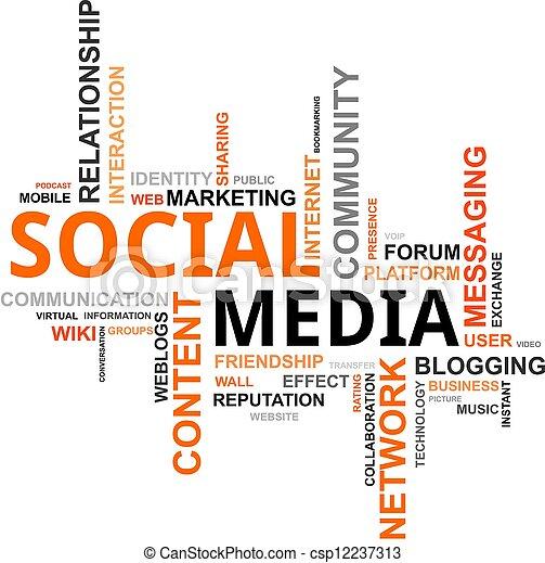 μέσα ενημέρωσης , - , σύνεφο , λέξη , κοινωνικός  - csp12237313