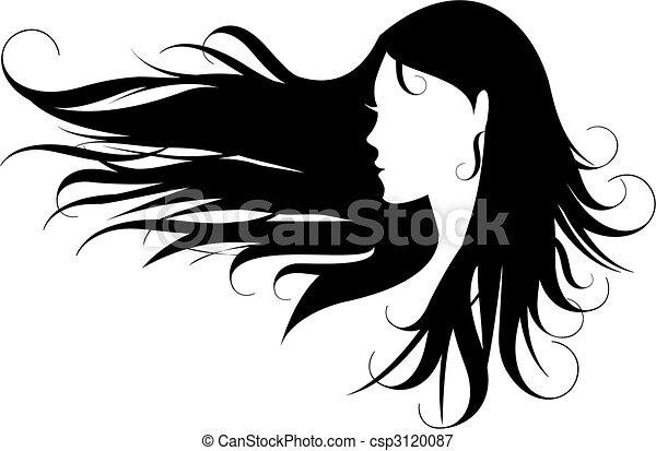 μαλλιά , μαύρο  - csp3120087