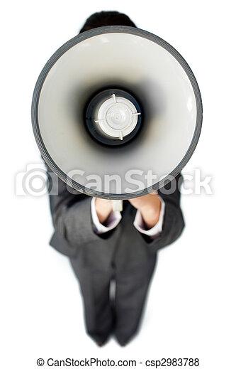 μεγάφωνο , οδηγίεs , επιχειρηματίαs γυναίκα , χορήγηση  - csp2983788