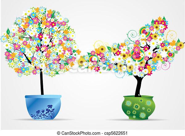 μικροβιοφορέας , δοχείο , λουλούδι , illustra , δέντρα  - csp5622651