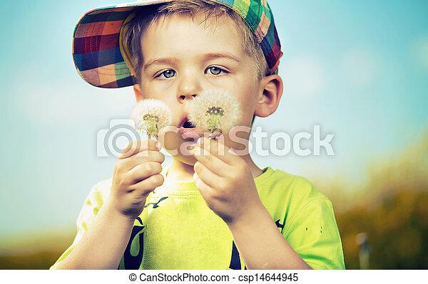 μικρό , χαριτωμένος , αγόρι , παίξιμο , blow-balls - csp14644945