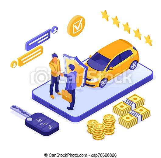 μοιρασιά , isometric , πώληση , αυτοκίνητο , online , ενοίκιο , ασφάλεια  - csp78628826