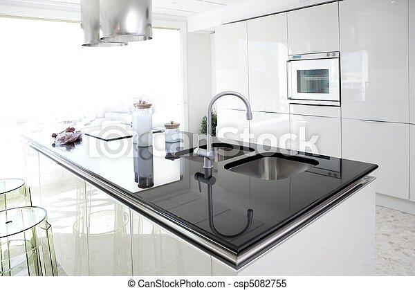 μοντέρνος , σχεδιάζω , καθαρός , εσωτερικός , άσπρο , κουζίνα  - csp5082755