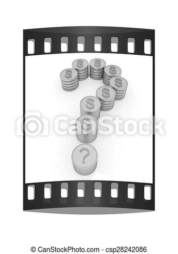 μορφή , ερώτηση , αναχωρώ. , κέρματα , δολάριο , σημαδεύω , βγάζω , ταινία  - csp28242086