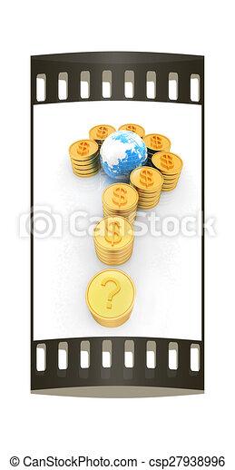 μορφή , ερώτηση , βγάζω , δολάριο , χρυσός , σημαδεύω , ταινία , κέρματα , αναχωρώ.  - csp27938996
