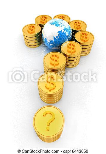 μορφή , ερώτηση , σήμα , δολάριο , χρυσός , σημαδεύω , κέρματα  - csp16443050