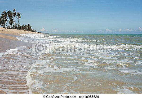 μπλε , άμμος αχανής έκταση , κύμα  - csp10958639