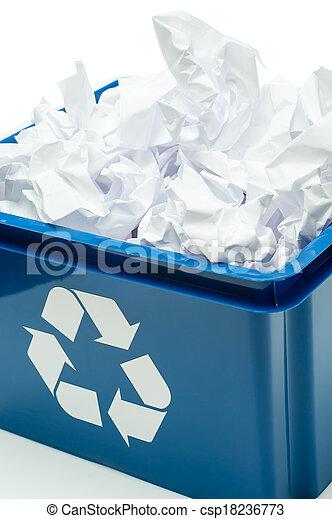 μπλε , αποθήκη , ανακύκλωση , κουτί , χαρτί , σπατάλη  - csp18236773