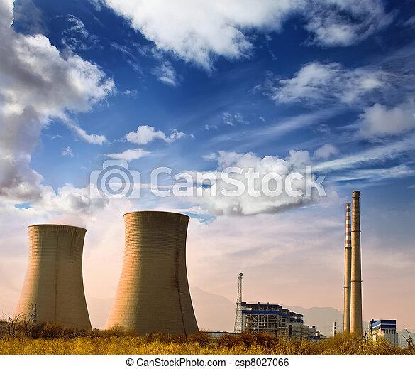 μπλε , βιομηχανικός , δύναμη , περιοχή , φωτογραφία , ουρανόs , εργοστάσιο , γυαλί της λάμπας , rurial, τοπίο  - csp8027066