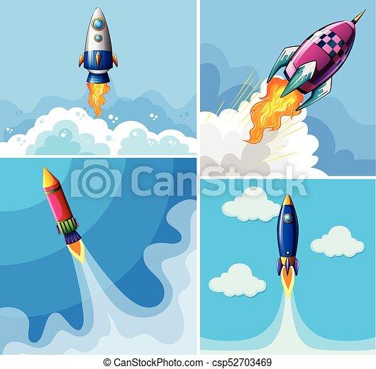 μπλε , ρουκέτα , ιπτάμενος , ουρανόs  - csp52703469
