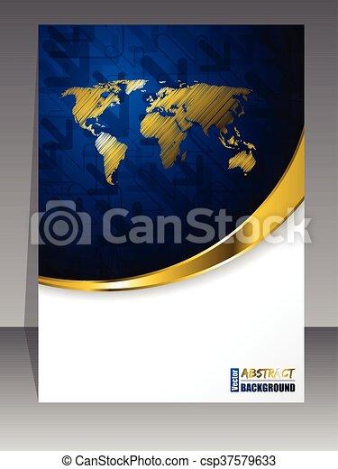 μπλε , φυλλάδιο , αφαιρώ , χρυσός  - csp37579633
