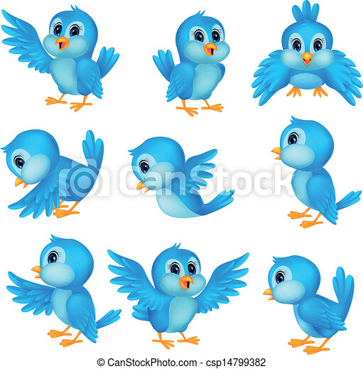 μπλε , χαριτωμένος , πουλί , γελοιογραφία  - csp14799382