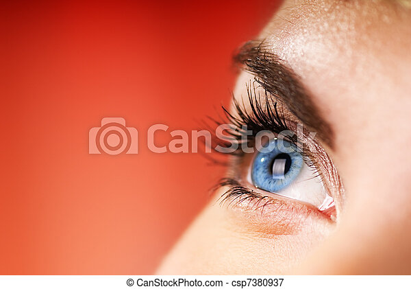 μπλε , dof), μάτι , (shallow, φόντο , κόκκινο  - csp7380937