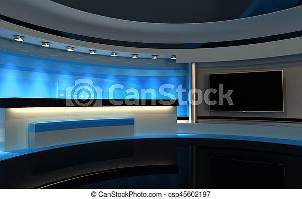 μπλε , drop., τηλεόραση , πίσω , απόδοση , 3d , studio. - csp45602197