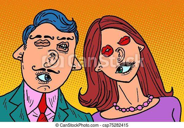 μύτη , ζευγάρι , αστείος , ανακάτεψα , αντικρύζω , αυτιά , στόμα , love., μάτια  - csp75282415