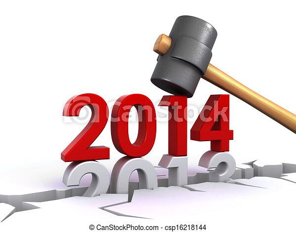 νέο έτος , 2014 - csp16218144