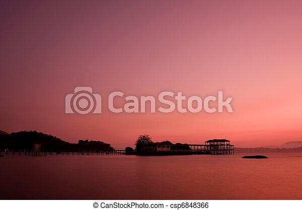 νησί , ηλιοβασίλεμα , pangkor - csp6848366