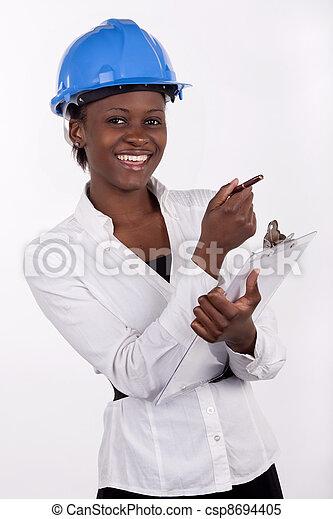 νότιο , νέος , ευθυμία. , καπέλο , αφρικανός , σκληρά  - csp8694405