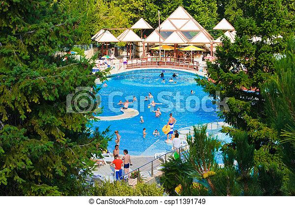ξενοδοχείο , - , διακοπές , καταρράχτης , φόντο , κερδοσκοπικός συνεταιρισμός  - csp11391749