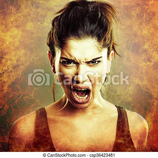 ξεφωνίζω , θυμωμένος , explosion., γυναίκα , οργή  - csp36423481