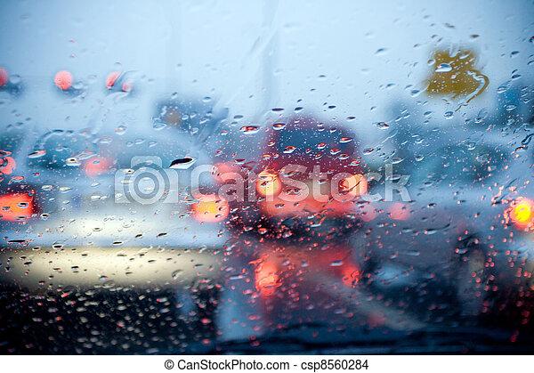 οδήγηση , πνεύμονες ζώων , αριστερός άμαξα αυτοκίνητο , βροχή , θολός , καταιγίδα  - csp8560284
