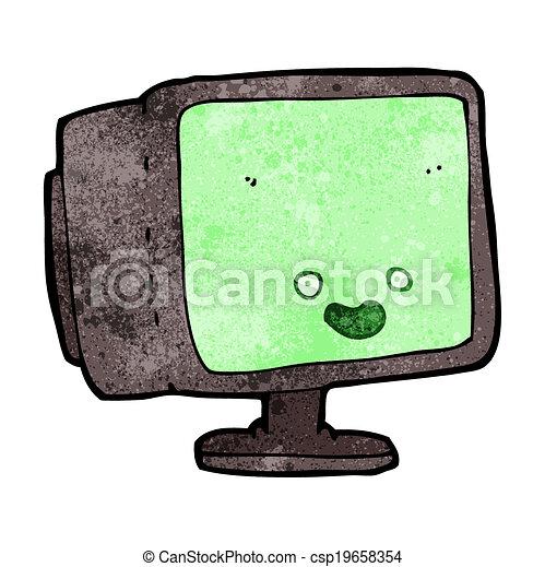 οθόνη , ηλεκτρονικός υπολογιστής , γελοιογραφία  - csp19658354