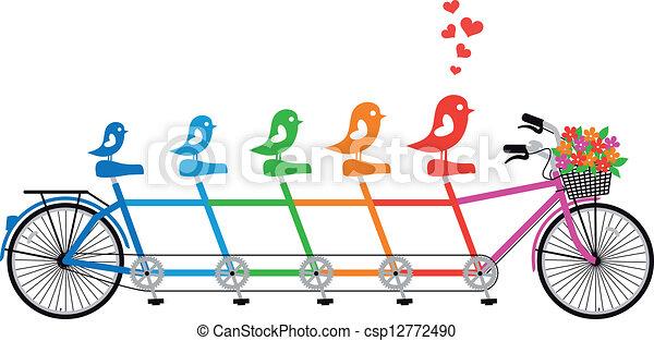 οικογένεια , μικροβιοφορέας , ποδήλατο , πουλί  - csp12772490