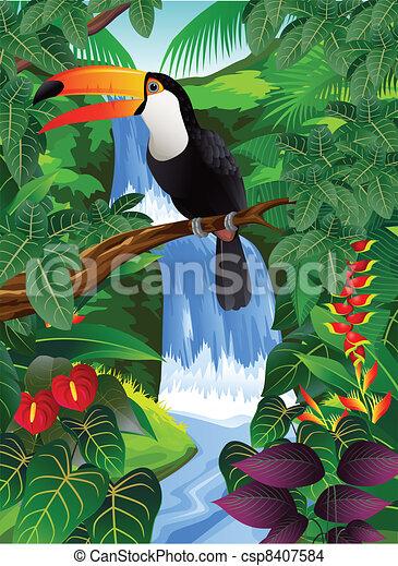 οπωροφάγο πτηνό με μέγα ράμφο , πουλί  - csp8407584