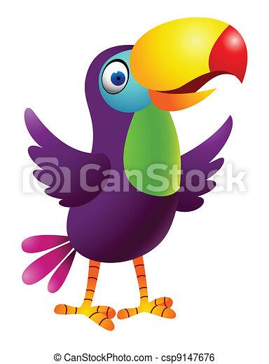 οπωροφάγο πτηνό με μέγα ράμφο , πουλί , γελοιογραφία  - csp9147676