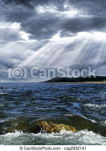 πάνω , καταιγίδα , θάλασσα  - csp2932141