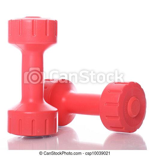 πάνω , dumbells , αγαθός φόντο , κόκκινο  - csp10039021