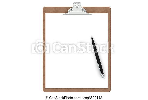 πένα , χαρτί , clipboard , κενό  - csp6509113