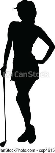 παίζων γκολφ , απεικονίζω σε σιλουέτα , μικροβιοφορέας , κυρία  - csp4615041