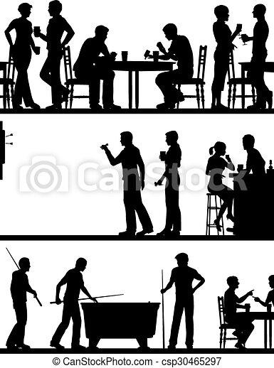 παιγνίδι , απεικονίζω σε σιλουέτα , καπηλειό  - csp30465297