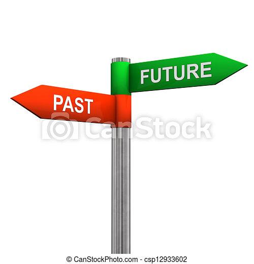 παρελθών , κατεύθυνση , μέλλον , σήμα  - csp12933602