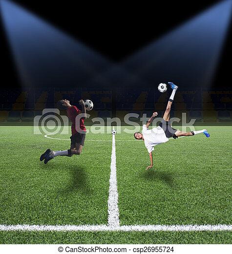 πεδίο , μπάλλα ποδοσφαίρου , πράσινο  - csp26955724