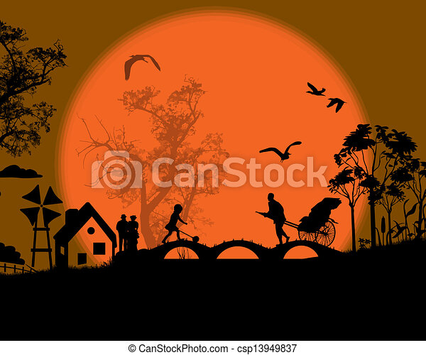περίγραμμα , ηλιοβασίλεμα , άνθρωποι  - csp13949837