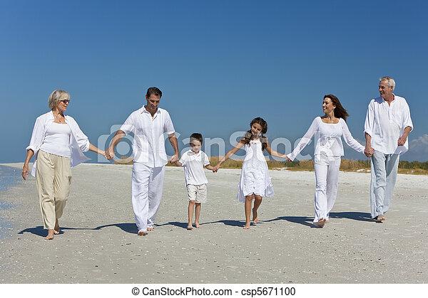 περίπατος , οικογένεια , τρία , αμπάρι ανάμιξη , παραλία , γένεση  - csp5671100