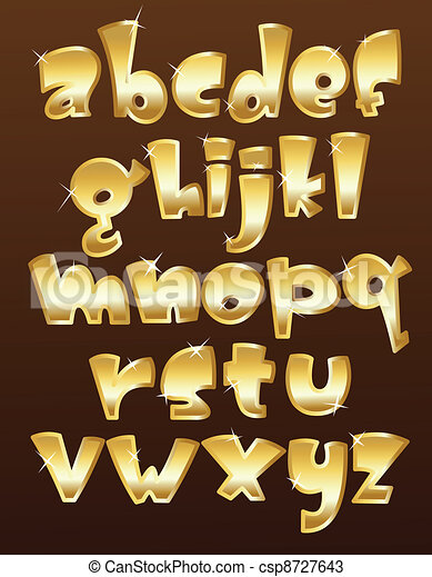 περίπτωση , αλφάβητο , χαμηλώνω , χρυσός  - csp8727643