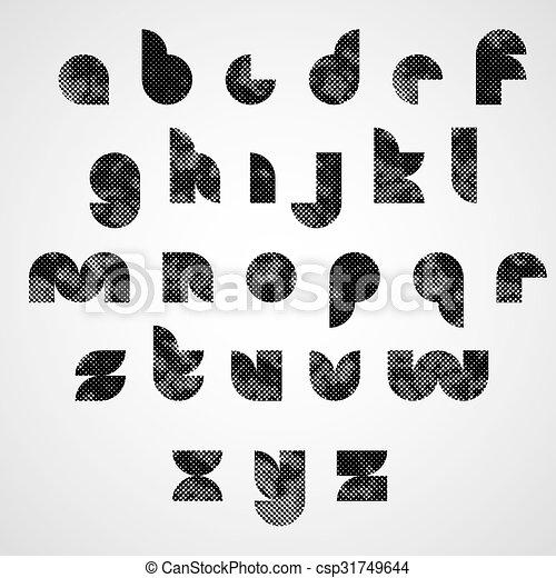 περίπτωση , διακοσμητικός , χαμηλώνω , γραφικός , γράμματα , μαύρο , dotty, font., στρογγυλός  - csp31749644