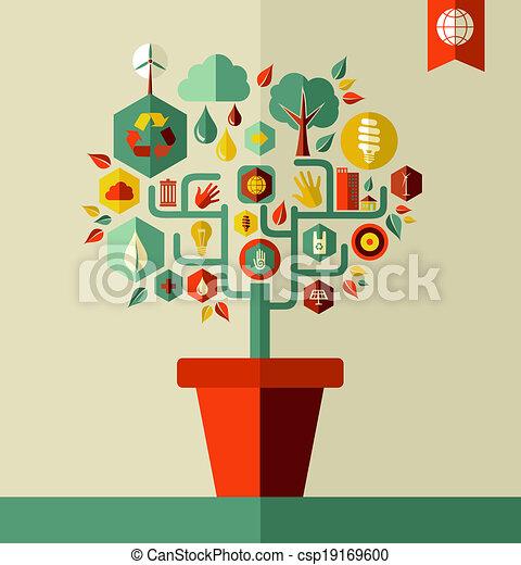 περιβάλλον , πράσινο , γενική ιδέα , δέντρο  - csp19169600