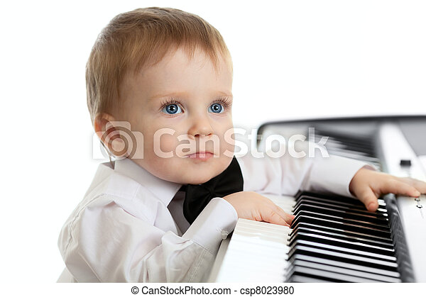 πιάνο , παιδί , λατρευτός , ηλεκτρικός , παίξιμο  - csp8023980