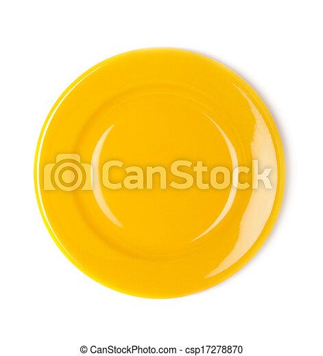 πιάτο , άσπρο , αδειάζω , φόντο , κίτρινο  - csp17278870