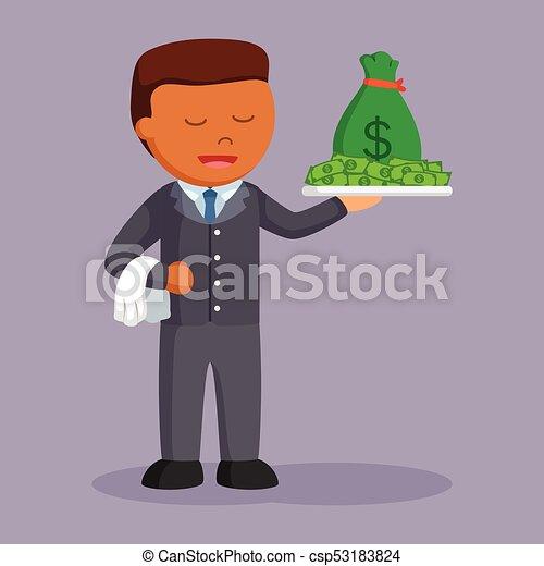πιατέλα , χρήματα , επιχειρηματίας , αφρικανός  - csp53183824
