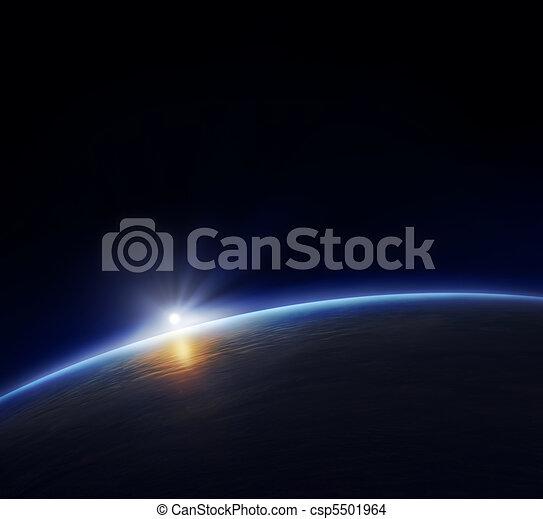 πλανήτης γαία , ανατέλλω επιφανής  - csp5501964